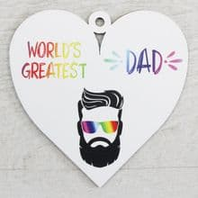 Printed 9.5cm Wood Heart cut from 3mm MDF Dad Daddy Fathers Day Gift - Greatest